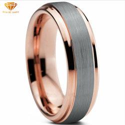 Großhandelsform-Rosen-GoldLasha Ring-Wolframring überzogene Schmucksachen Tst4331 zwei Männer Farbe des form-Schmucksache-Wolframstahls Ring 6mm breit einzelne