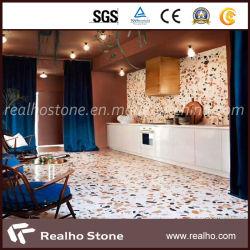 Buen precio losas de terrazo de color blanco/mosaicos de granito con gran colorido y los copos