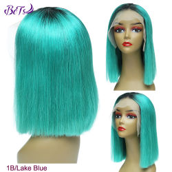 Лучшие продажи сырья волосы два тона Color 1b/озера синий Боб передней кружева парики