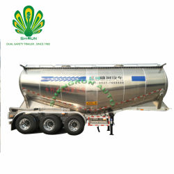 Le matériel en acier au carbone en alliage aluminium 3/4 pétrolier de ciment en vrac de l'alimentation de l'essieu Matériau semi-remorque de camion citerne à cargaison