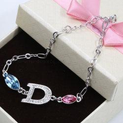 Carta de moda bracelete liga bracelete de cristal elegante