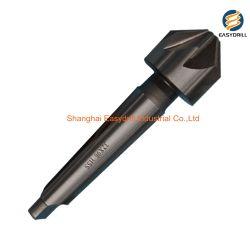 60 Degré 5 Flute Foret HSS fraiser le chanfreinage avec cône Morse la queue de fixation pour le métal