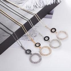 De forma simples cadeia Suéter Encantos do Círculo do ornamento Colar