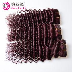 Entrega rápida por grosso de cabelo humano Remy chinês de extensão de cabelo humano de cor vermelha profunda trama de cabelo da onda