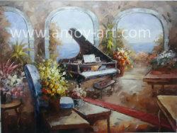 Emoldurado Piano decoração interior pintura a óleo para a decoração de paredes