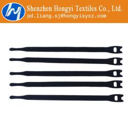 Black réutilisables de crochet et boucle réglable attache de câble