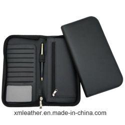 Zipper personalizado couro passaporte titular organizador carteira de viagem