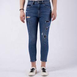 Denim van de Jeans van de Broeken van de Vrouwen van de Taille van de Keten van de Productie van China het Volledige Hoge In te ademen Magere