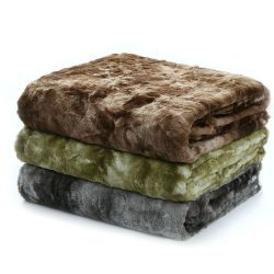 Fluffy cálida elegante gris escarcha lanzar Faux Fur Manta