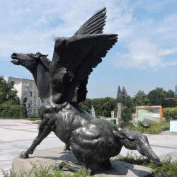 حصان برونزي مع حصان الأجنحة Statue Horse جاهز للقفز من النحت
