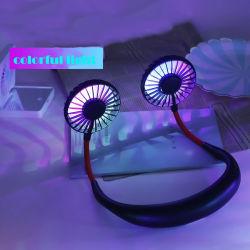 Mini Ventilador USB Portatil ventilador ventilador de cuello con batería recargable para cuello pequeño escritorio de mano de los ventiladores de refrigerador de aire acondicionado colgando del deporte con luz LED
