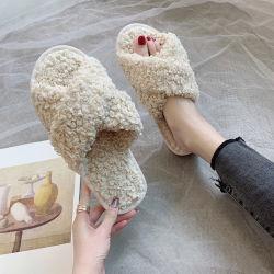 Groothandel comfortabele Non-Slip Fur Slides Schapenhuid Slipper for Women