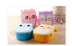 2 compartiments sans BPA ovale Boîtes en plastique contenant de déjeuners scolaires pour les enfants avec une cuillère de fourche