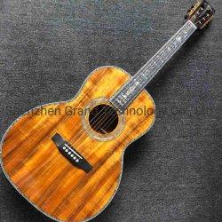 Diapasón de ébano de madera de koa abulón Real Enlace Shell 1 3/4 pulgadas de ancho de la tuerca de 39 pulgadas modelo Ooo Koa guitarra eléctrica acústica de madera
