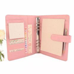Sur mesure Composante personnalisée un journal de cuir de couleur rose pâle5 Classeur à anneaux en cuir jour Planner