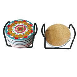 O logotipo personalizado impresso absorvente Sublimação Conjunto de 6 Round Montanha Russa de cerâmica no suporte de ferro e Preto Caixa Branca