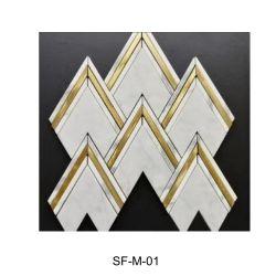 Waterjet белый/gold металлические мраморный пол в помещении/на стену/потолок/мозаики