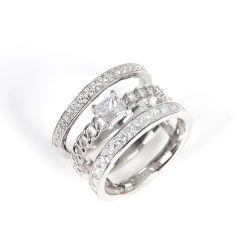 Mode bijoux 925 Sterling Silver bijoux en diamants princess cut stone anneau simple
