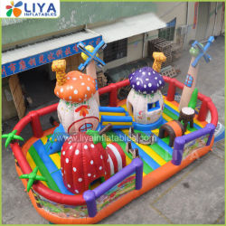 Big Inflatable Mushroom Fun City Amusement Park Bouncy Castle Toy Met Slide for Kids