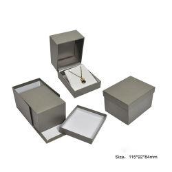 Caixa de jóias em couro artificial clássica de joalharia caixas de Embalagem Ring Bracelete Brinco Colar