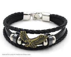 De zwarte Gift van de Bevordering van de Juwelen van de Armband van de Manier van de Mensen van de Charme van het Leer