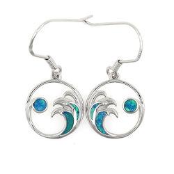 Form-Schmucksache-Sterlingsilber-synthetischer blauer Opalmond und Wellen-Haken/baumeln Ohrringe
