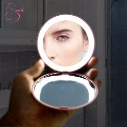 12 LED fábrica 1X/10X maquillaje de vidrio del espejo de vanidad Mini Espejo Espejo de maquillaje con espejo de maquillaje