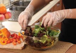Осмотр пищевой категории одноразовые перчатки из ПВХ/биоразлагаемых литые полиэтилен (CPE) вещевого ящика