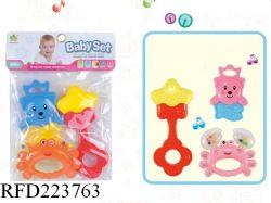 環境にやさしい素材音楽ベルおもちゃの赤ちゃん用ガラガラセット