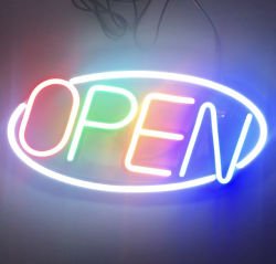 ネオンの開いた印LEDを広告する屋外のハングのカスタムロゴ