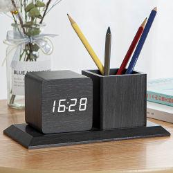 Orologio di legno personalizzato Kh-Wc009 della Tabella della scrivania LED Digital con il supporto della penna