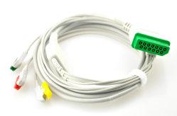 Nihon Kohden cabo de ECG de 3 derivações com cabos eletrodos, Snap 13pin, IEC