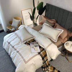 아파트 간단한 1인용 침대를 위한 작풍에 의하여 수를 놓는 호텔 리넨 100%년 면