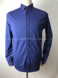 Длинные втулки рубашку для мужчины, 98% хлопок, 2% спандекс Poplin, синий регулятора заглубления