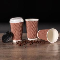 주문 Logo Biodegradable 4oz/8oz/12oz/16oz Ripple Hot Drink Coffee Paper Cup