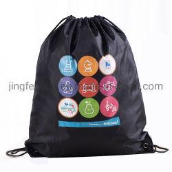 背部ドローストリング袋のジッパーPktとの環境に優しいポリエステルファブリックゴム製印刷