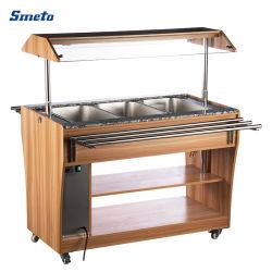 1210mm de largeur de la nourriture chaude plats d'affichage vitrine chariot sous forme de buffet chaud