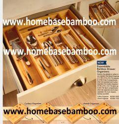 Dienblad van de Organisator van Amazonië het Populaire, Dienblad van het Bestek van het Bamboe het Uitzetbare, het Dienblad van het Tafelgereedschap, de Opslag van de Lade, de Doos van de Lade