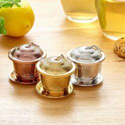 Folha solta Tea Infuser com colher de chá e a bandeja de pingos - Ultra fino de Aço Inoxidável coador & inclinações