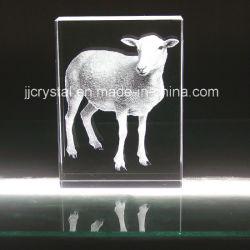 3D cristallo inciso interno, animale di vetro per la decorazione della Tabella