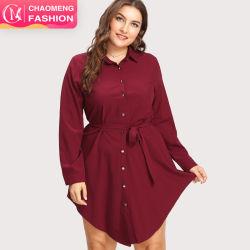 여성용 톱 패션 블라우스 허리에 벨트루파스를 입힌 짧은 드레스 Feminas Blusas 이슬람 의류