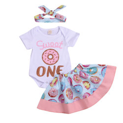 여자 아기 단것 하나 장난꾸러기 + 도넛 발레용 스커트 치마 + 머리띠 제 생일 차림새는 유아 의류 평상복 당 착용 Esg13828를 놓았다