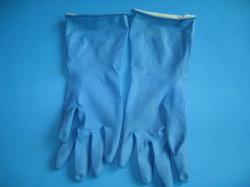 De blauwe Kleur bespoot de Bijeengekomen Handschoenen van het Huishouden van het Latex van de Lijn