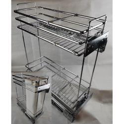 La serie 312 Cromo estrecho Hierro plano elíptico Tire el cable Cesta cajón para armario de cocina