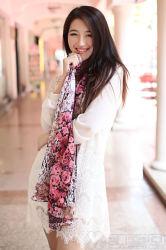 100% Seide Custom Digital gedruckt lange Schals für Mode-Damen (12-BR110303-25)