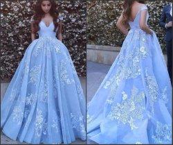 Spitze-Abschlussball-Partei-Kleid, das Abend-Kleider Ld11551 bördelt