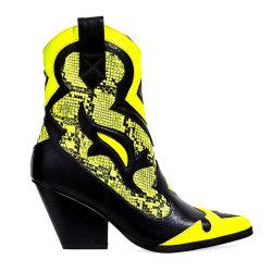 Amarelo néon Snake Imprimir Western Mulheres Botas de tornozelo Senhoras Cowboy Calçados
