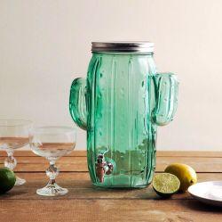Distributeur de boissons en verre Hotsale Cactus avec du ruban adhésif le commerce de gros