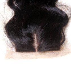 Remy Cheveux humains péruvienne de fermeture de base de la soie avec bébé sèche