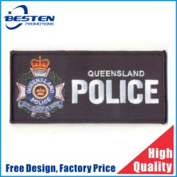 Kundenspezifischer geformter Entwurfs-Militärfirmenzeichen-Stickerei Lables für Kleidung